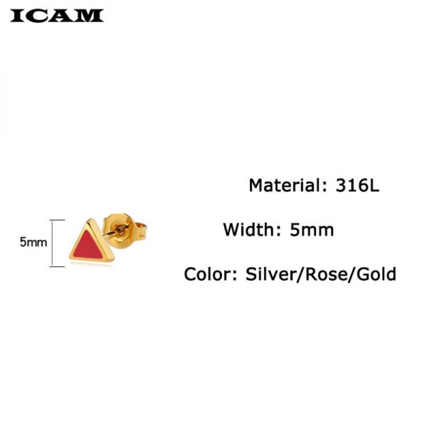 31163 f755a2 600x600 - ICAM Golden Korean Minimalist Stainless Steel Red Enamel Triangle Stud Earrings for Women Fashion 2019 Jewelry Gift for Girl