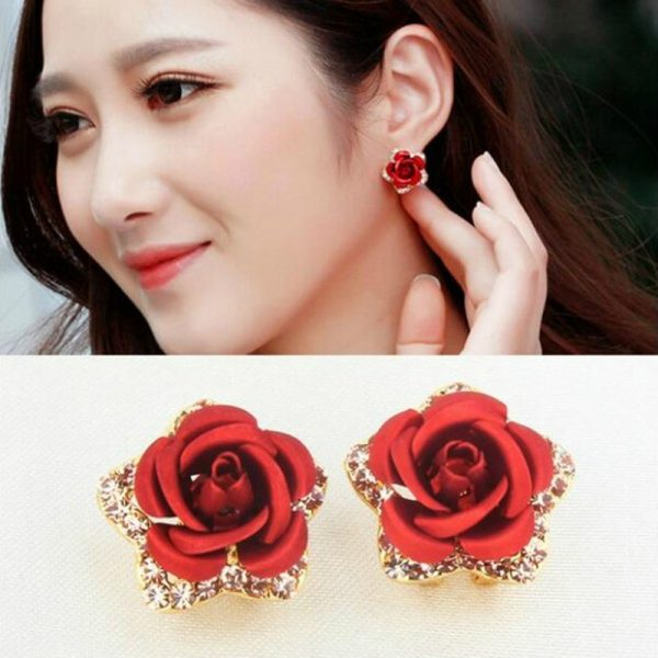31173 3317eb 600x600 - Hot Vintage Charming Trendy Cute Red Rose Wedding Earrings Crystal Rose Flower Earrings Pentagram Stud Earrings Party Jewelry