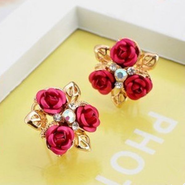31173 671ca2 600x600 - Hot Vintage Charming Trendy Cute Red Rose Wedding Earrings Crystal Rose Flower Earrings Pentagram Stud Earrings Party Jewelry