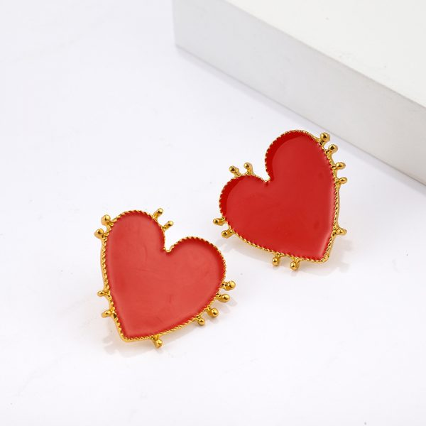 31211 4a4ab9 600x600 - Retro Bohemia Style Big Red Heart Earrings Acrylic Statement Stud Earring For Women Charm Wedding Jewelry Party