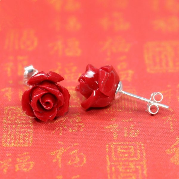31219 864a61 600x600 - HOT new 2020 Artificial coral stone stud earrings with red roses and sterling-silver-jewelry Free to send fine jewelry box