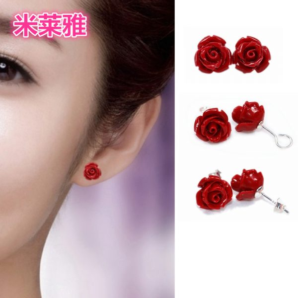 31219 e618b3 600x600 - HOT new 2020 Artificial coral stone stud earrings with red roses and sterling-silver-jewelry Free to send fine jewelry box
