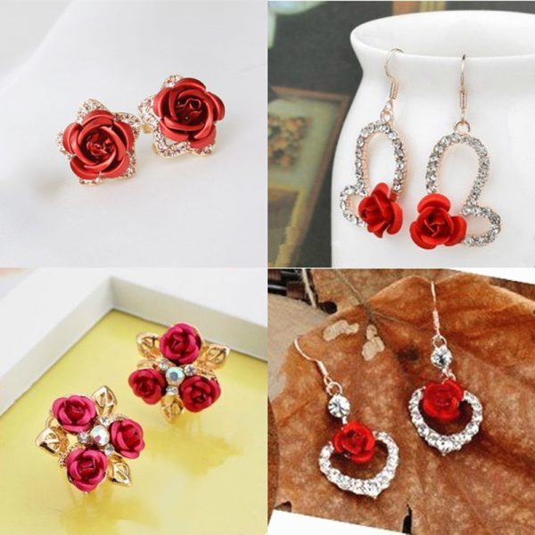 31267 266cd7 600x600 - Hot Fashion Charming Trendy Cute Red Rose Wedding Earrings Crystal Rose Flower Earrings Pentagram Stud Earrings Party Jewelry