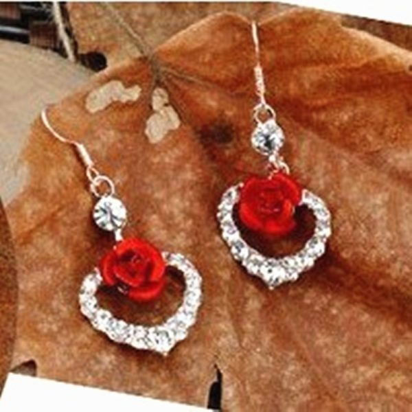 31267 504ba8 600x600 - Hot Fashion Charming Trendy Cute Red Rose Wedding Earrings Crystal Rose Flower Earrings Pentagram Stud Earrings Party Jewelry