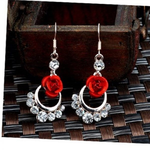 31267 981ca7 600x600 - Hot Fashion Charming Trendy Cute Red Rose Wedding Earrings Crystal Rose Flower Earrings Pentagram Stud Earrings Party Jewelry