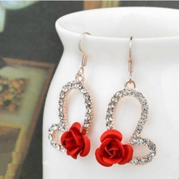 31267 b6a68d 600x600 - Hot Fashion Charming Trendy Cute Red Rose Wedding Earrings Crystal Rose Flower Earrings Pentagram Stud Earrings Party Jewelry
