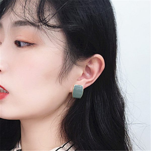 31330 4c9c60 600x600 - Fashion color metal geometry stud earrings female popular Golden women stud earrings red rectangle stud earrings for women