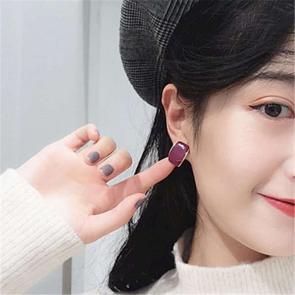 31330 e2680b 600x600 - Fashion color metal geometry stud earrings female popular Golden women stud earrings red rectangle stud earrings for women