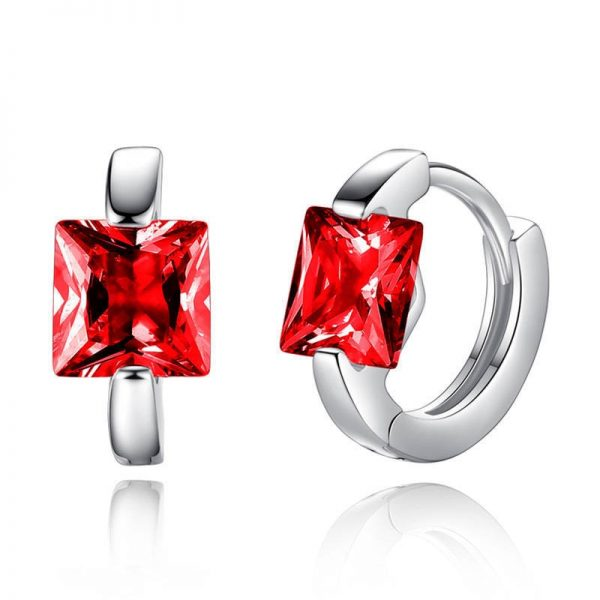 31351 65c8ec 600x600 - Square Crystal Earrings Small Circle Red Blue Pink Color Stone Earrings For Women Females Engagement Daily Jewelry Accessory