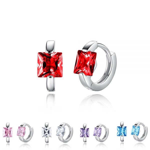 31351 b0dccc 600x600 - Square Crystal Earrings Small Circle Red Blue Pink Color Stone Earrings For Women Females Engagement Daily Jewelry Accessory