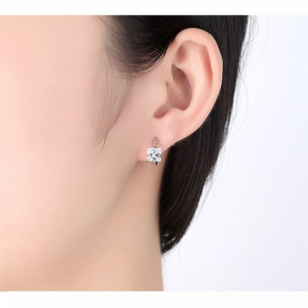 31351 f215f9 600x600 - Square Crystal Earrings Small Circle Red Blue Pink Color Stone Earrings For Women Females Engagement Daily Jewelry Accessory