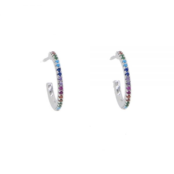 31375 0405c7 600x600 - 2019 New Stud micro pave cz circle Earrings With Blue Red Stone mix Rainbow CZ Rose gold Stud Earring girl earring women jewelry