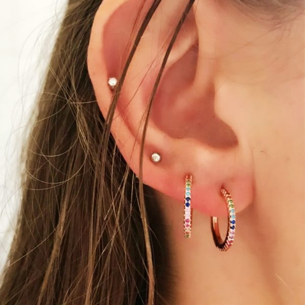 31375 16b8ff 600x600 - 2019 New Stud micro pave cz circle Earrings With Blue Red Stone mix Rainbow CZ Rose gold Stud Earring girl earring women jewelry