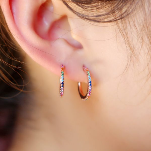 31375 2bbe5f 600x600 - 2019 New Stud micro pave cz circle Earrings With Blue Red Stone mix Rainbow CZ Rose gold Stud Earring girl earring women jewelry
