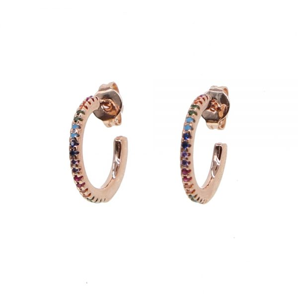 31375 dd3070 600x600 - 2019 New Stud micro pave cz circle Earrings With Blue Red Stone mix Rainbow CZ Rose gold Stud Earring girl earring women jewelry