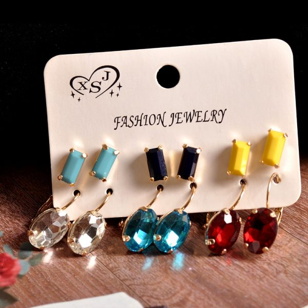 31377 060145 600x600 - New fashion women jewelry wholesale girls birthday party white black yellow red blue ear stud mix type 6 pairs /set gifts