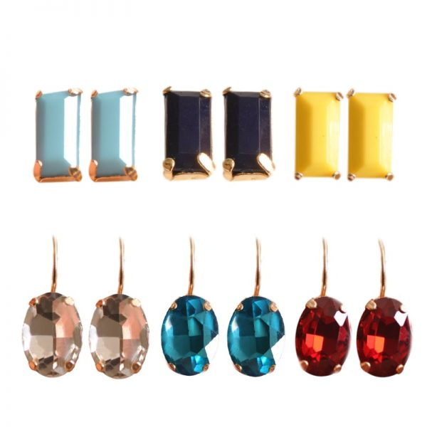 31377 6c8537 600x600 - New fashion women jewelry wholesale girls birthday party white black yellow red blue ear stud mix type 6 pairs /set gifts