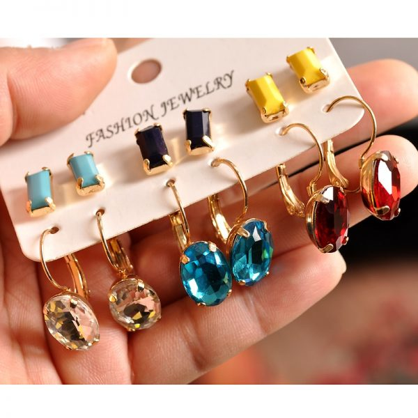 31377 b3852d 600x600 - New fashion women jewelry wholesale girls birthday party white black yellow red blue ear stud mix type 6 pairs /set gifts