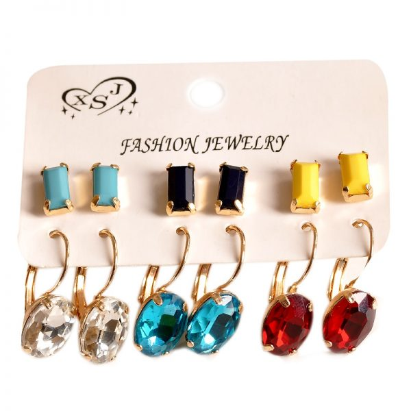 31377 f102db 600x600 - New fashion women jewelry wholesale girls birthday party white black yellow red blue ear stud mix type 6 pairs /set gifts