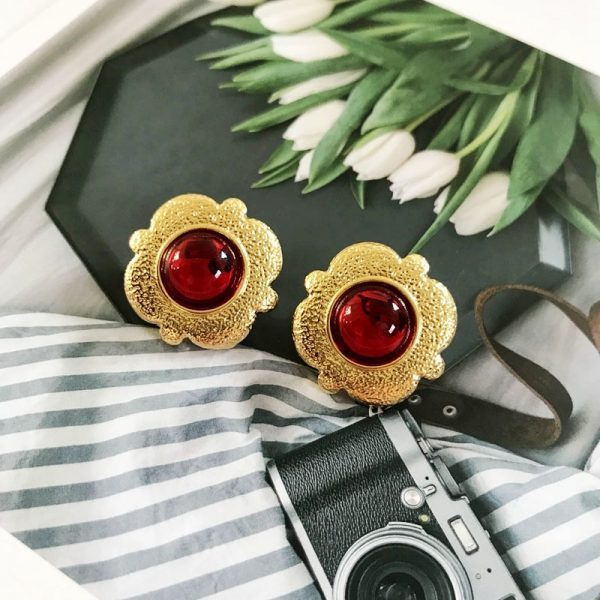 31383 dd2800 600x600 - Free Shipping Sweet Red Colors Styles Geometric Alloy Party Stud Earring For Women