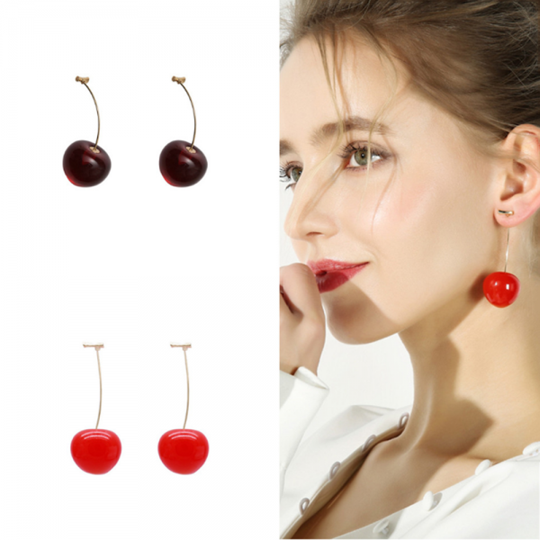 31399 b07c43 600x600 - 1 Pair Simulation Red Cherry Earrings Sweet Bohemian Fashion Jewelry Women Cherry Earrings Fruit Stud Dangle Drop Christmas Girl