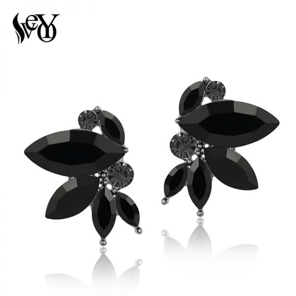 31425 73f198 600x600 - VEYO 3 Color black Red Green Shiny Crystal Stud Earrings Wing shape Earrings for Women Rhinestone Female Trendy Jewelry