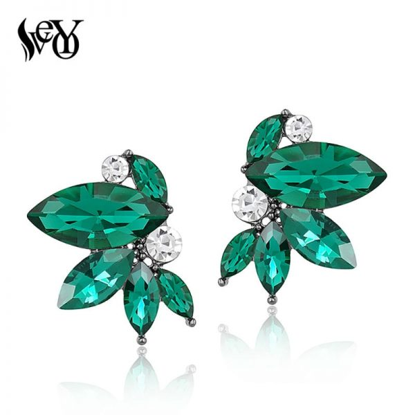 31425 7bbe9b 600x600 - VEYO 3 Color black Red Green Shiny Crystal Stud Earrings Wing shape Earrings for Women Rhinestone Female Trendy Jewelry