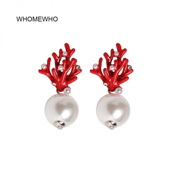31463 23be92 600x600 - WHOMEWHO Red Coral Deer Antler White Faux Pearl Stud Christmas  Earrings Fashion Xmas Gift Jewelry Holiday Party Ear Accessories
