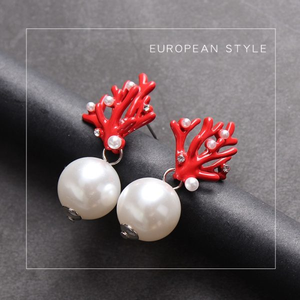 31463 4a2521 600x600 - WHOMEWHO Red Coral Deer Antler White Faux Pearl Stud Christmas  Earrings Fashion Xmas Gift Jewelry Holiday Party Ear Accessories