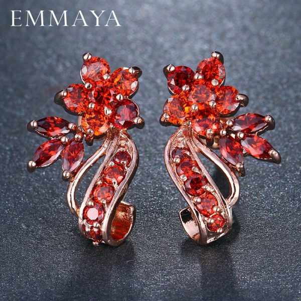 31494 3218b4 600x600 - EMMAYA Fashion Red CZ Crystal Earrings Colorful Flower Stud Earrings Rose Gold Color Earrings for Women Cheap Price