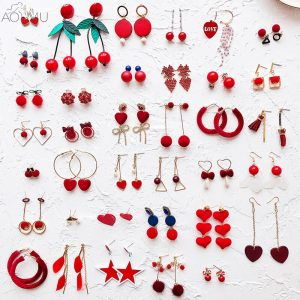 31508 a396df 300x300 - AOMU Red Pompon Ball Stud Earrings Set For Women Girl Brincos Circle Star Fluffy Fur Ball Bowknot Earrings New Year Gift