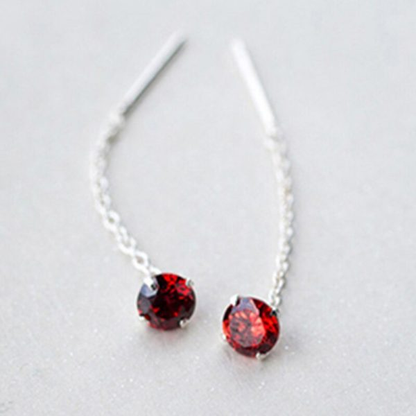 31513 114df5 600x600 - Real. 925 Sterling Silver Jewelry Red / Clear / Black / Purple / Champagne CZ Stone Long Earring Stud Earring for Women