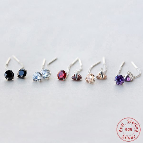 31513 3deae0 600x600 - Real. 925 Sterling Silver Jewelry Red / Clear / Black / Purple / Champagne CZ Stone Long Earring Stud Earring for Women