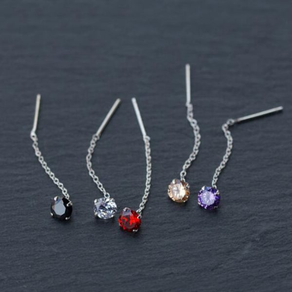 31513 cd271f 600x600 - Real. 925 Sterling Silver Jewelry Red / Clear / Black / Purple / Champagne CZ Stone Long Earring Stud Earring for Women
