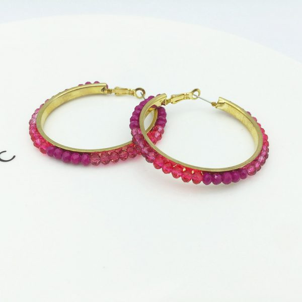 31578 ae3202 600x600 - Personalized trendy red bead metal hoop earring fashion hot selling popular earring for women