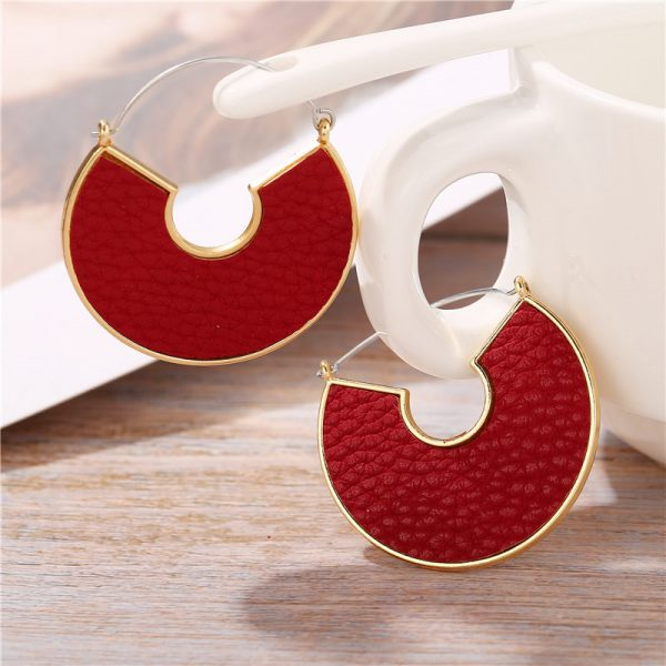 31606 6aab07 600x600 - IF ME Fashion Leather Circle Hoop Earrings Big Round Korean Earring Alloy Metal Red Colorful Brincos 2020 New Jewelry Gift