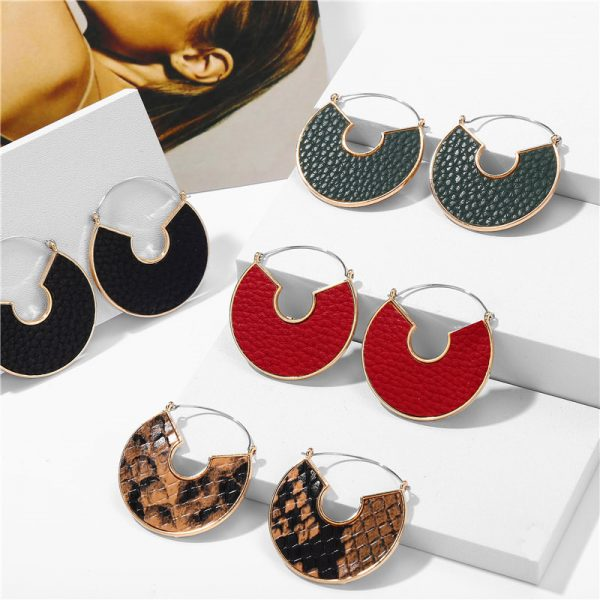 31606 6db8a1 600x600 - IF ME Fashion Leather Circle Hoop Earrings Big Round Korean Earring Alloy Metal Red Colorful Brincos 2020 New Jewelry Gift
