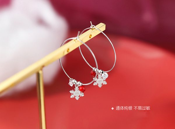 31621 036f90 600x441 - Silver Color Snowflake Crystal Round Circle Loop Earring Lucky Red Beads Pendant Hoop Earrings Fashion Jewelry For Women