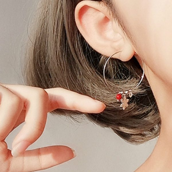 31621 1c83fd 600x600 - Silver Color Snowflake Crystal Round Circle Loop Earring Lucky Red Beads Pendant Hoop Earrings Fashion Jewelry For Women