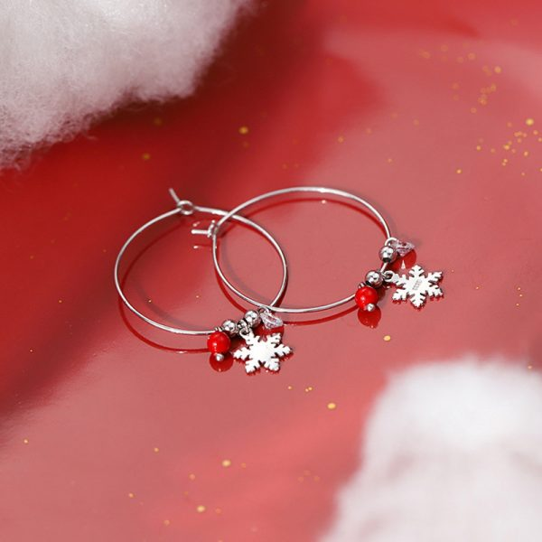31621 250e39 600x600 - Silver Color Snowflake Crystal Round Circle Loop Earring Lucky Red Beads Pendant Hoop Earrings Fashion Jewelry For Women