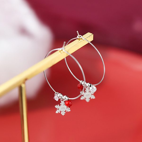 31621 3bb5b1 600x600 - Silver Color Snowflake Crystal Round Circle Loop Earring Lucky Red Beads Pendant Hoop Earrings Fashion Jewelry For Women