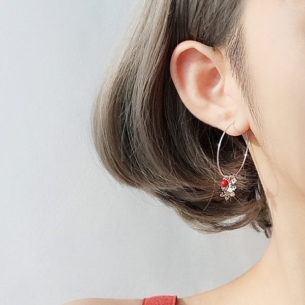 31621 3be8d7 600x600 - Silver Color Snowflake Crystal Round Circle Loop Earring Lucky Red Beads Pendant Hoop Earrings Fashion Jewelry For Women