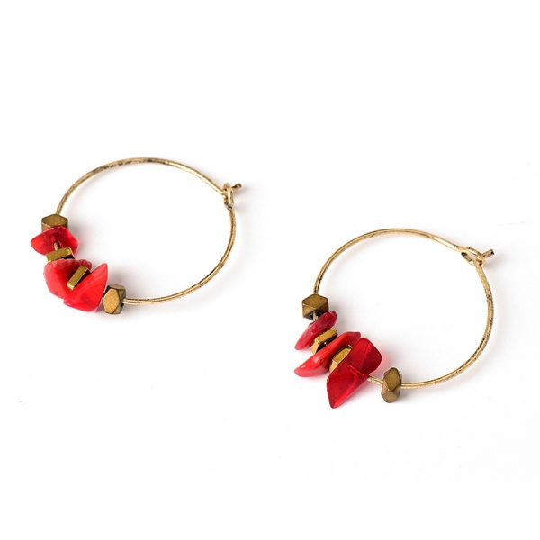 31645 8c6a16 600x600 - Women Trendy Red Natural Stone Pendant Round Hoop Earrings Vintage Antique Gold Circle Hoop Earrings Jewelry