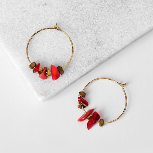 31645 a4194e 600x600 - Women Trendy Red Natural Stone Pendant Round Hoop Earrings Vintage Antique Gold Circle Hoop Earrings Jewelry