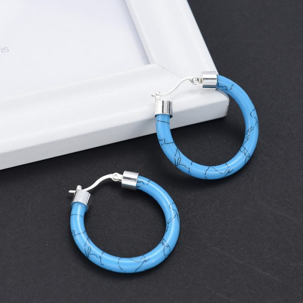 31667 0726e1 600x600 - White/Black/Red/Blue Bohemian Stainless Steel Big Round Circle Hoop Earrings For Women Exaggerated Charms Resin Printing Earring