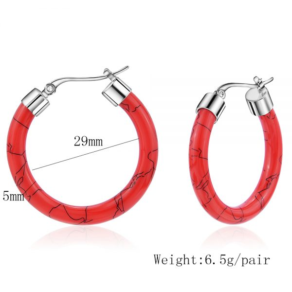 31667 27d605 600x600 - White/Black/Red/Blue Bohemian Stainless Steel Big Round Circle Hoop Earrings For Women Exaggerated Charms Resin Printing Earring