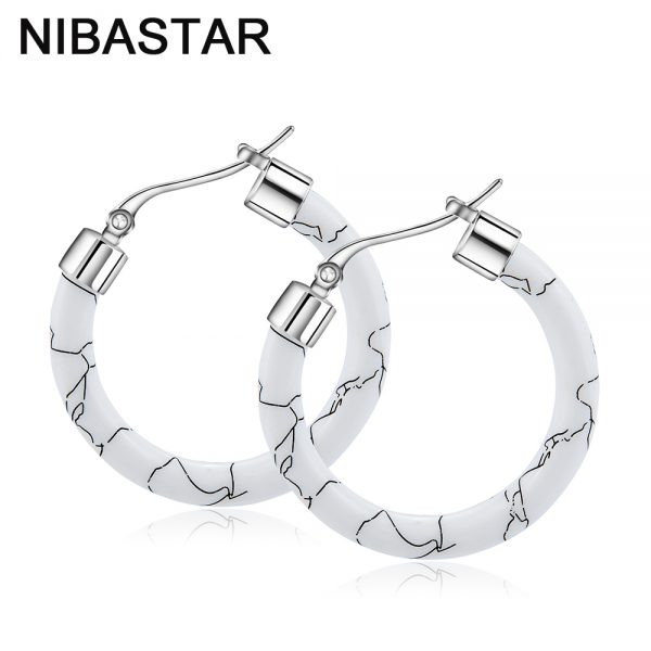 31667 3c746d 600x600 - White/Black/Red/Blue Bohemian Stainless Steel Big Round Circle Hoop Earrings For Women Exaggerated Charms Resin Printing Earring
