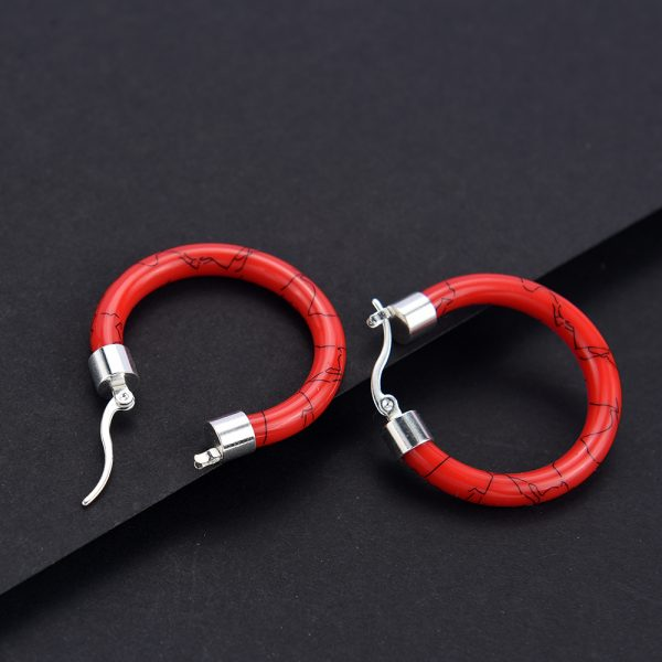 31667 5ddfae 600x600 - White/Black/Red/Blue Bohemian Stainless Steel Big Round Circle Hoop Earrings For Women Exaggerated Charms Resin Printing Earring