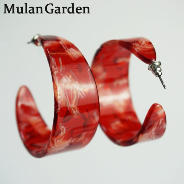 31685 19d0bf 600x600 - M&G Vintage Big Red Hoop Earrings for Women Green Black Acrylic Earrings Hoops Fashion Jewelry Resin Jewelry Accessories Gifts