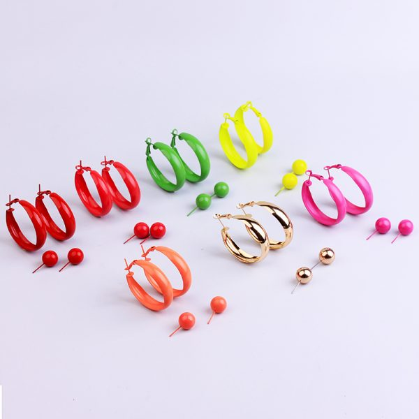 31697 2eaff2 600x600 - 2 Pair Lot Painted Metal Trendy Hoop Earrings Pearl Gold Hoops Earring Set Green Fashion Jewelry Colorful Red Earrings For Women